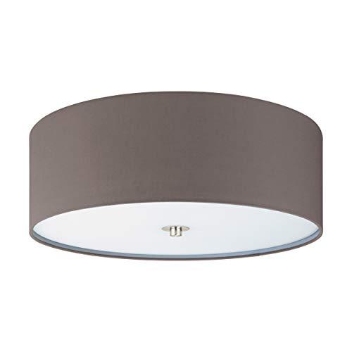 Eglo, lampada da soffitto Pasteri a 3 luci, in tessuto, materiale: acciaio, tessuto, vetro, colore: nichel opaco, antracite, marrone, attacco: E27, diametro: 47,5 cm