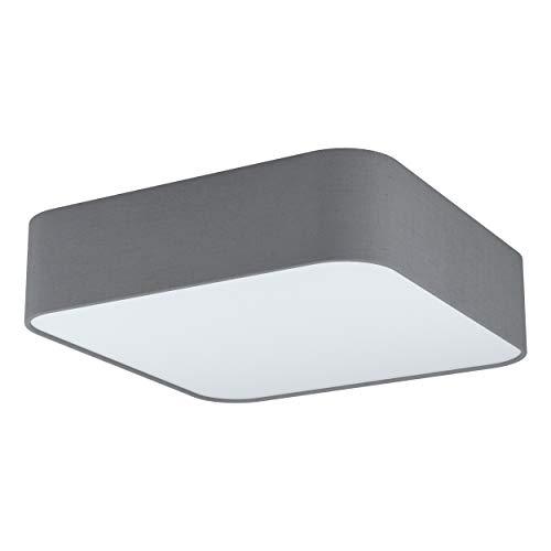 Eglo, lampada da soffitto Pasteri Square, 5 luci da soffitto moderna, lampada da soggiorno in acciaio, tessuto e plastica in bianco, grigio, lampada da cucina, corridoio, con attacco E27
