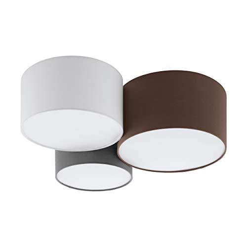 Eglo, lampada da soffitto Pastore, 3 luci, in tessuto, materiale: acciaio, tessuto, colore: bianco, antracite, marrone, grigio, attacco: E27