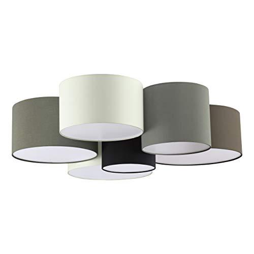 Eglo, lampada da soffitto Pastore, 6 luci, in tessuto, materiale: acciaio, tessuto, colore: bianco, marrone, grigio, nero, attacco: E27