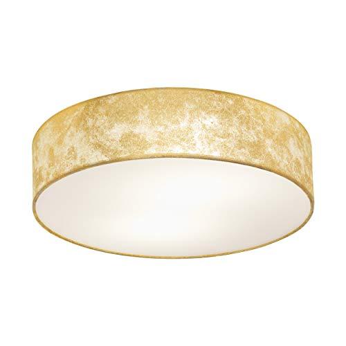 Eglo, lampada da soffitto Viserbella, 1 lampada da soffitto vintage, lampada da soggiorno in acciaio e tessuto, color champagne, oro, lampada da cucina, corridoio, con attacco E27, Ø 38 cm
