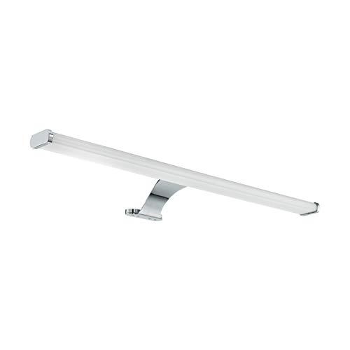 Eglo, lampada da specchio a LED Vinchio, 1 lampada da specchio a LED in acciaio e plastica, lampada da bagno in cromo bianco, lampada LED per ambienti umidi, IP 44, L 60 cm