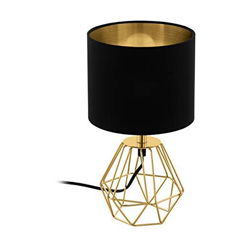 EGLO lampada da tavolo CARLTON 2, lampada da tavolo vintage a 1 punto luce, lampada da comodino in acciaio e tessuto, colore: oro, nero, presa: E14, interruttore incl.