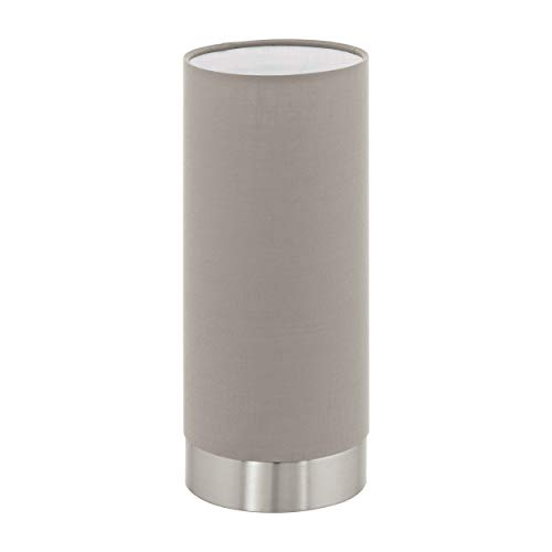 Eglo - Lampada da tavolo Pasteri a 1 luce, in tessuto, lampada da comodino in acciaio e tessuto, colore: Nichel opaco, tortora, attacco: E27, con touchscreen, altezza: 22,5 cm