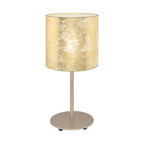 Eglo, lampada da tavolo Viserbella, 1 lampada da tavolo vintage, lampada da comodino in acciaio e tessuto, lampada da soggiorno in champagne, oro, lampada con interruttore, attacco E27