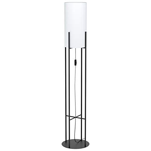 Eglo, lampada da terra Glasonbury, 1 lampada a stelo moderna, lampada da terra in acciaio e tessuto, lampada da soggiorno in nero, bianco, lampada con interruttore, attacco E27