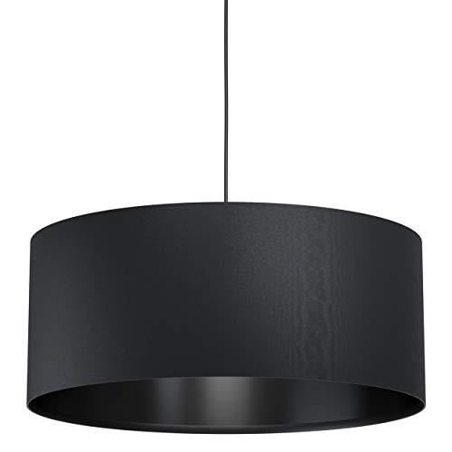 Eglo Maserlo 1, lampada a sospensione vintage, moderna, in acciaio e tessuto, colore nero, lampada da tavolo da pranzo, lampada da soggiorno con attacco E27, Ø 53 cm
