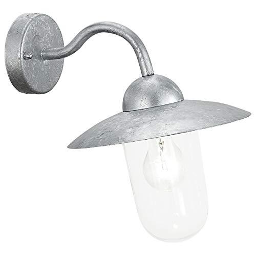 Eglo Milton 88489 - Lampada da parete per esterni, in acciaio zincato e vetro trasparente, HV 1 x E 27 max. 60 W, lampadina non inclusa, IP 44, altezza 31 cm, sporgenza 31 cm