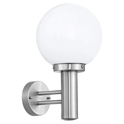 Eglo Nisia - Lampada da parete per esterni a 1 luce, in acciaio inox e vetro, colore: argento, bianco, attacco: E27, IP44