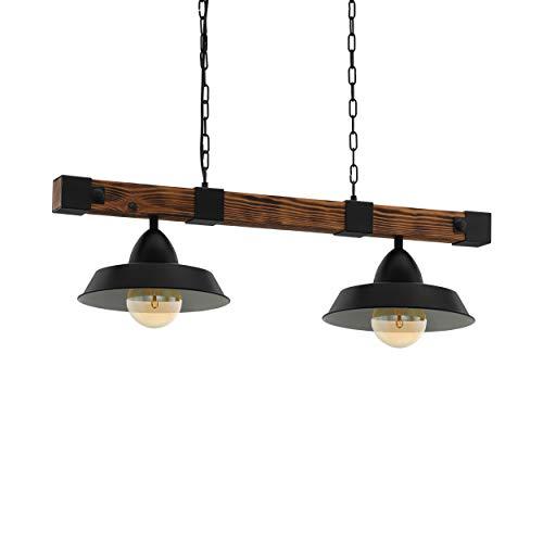 Eglo Oldbury - Lampada a sospensione a 2 luci, stile vintage, design industriale, in acciaio e legno, colore: nero, marrone, rustico, attacco: E27, L: 86 cm