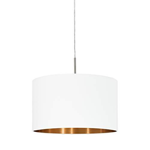 Eglo Pasteri - Lampada a sospensione in tessuto a 1 fiamma, lampada a sospensione in acciaio e tessuto, colore: nichel opaco, bianco, rame, attacco E27, diametro: 38 cm