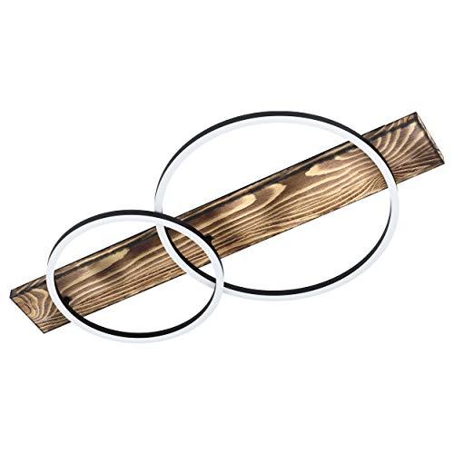 Eglo - Plafoniera a LED Boyal, 2 luci, stile vintage, rustico, moderno, in acciaio, legno e plastica, colore: nero, marrone, bianco, L 78 cm
