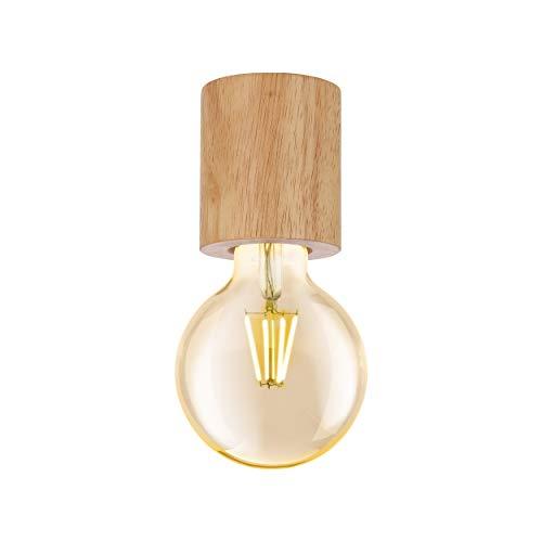 Eglo - Plafoniera Turialdo, 1 lampada da incasso industriale, vintage, moderna, in legno e acciaio, colore naturale, con attacco E27