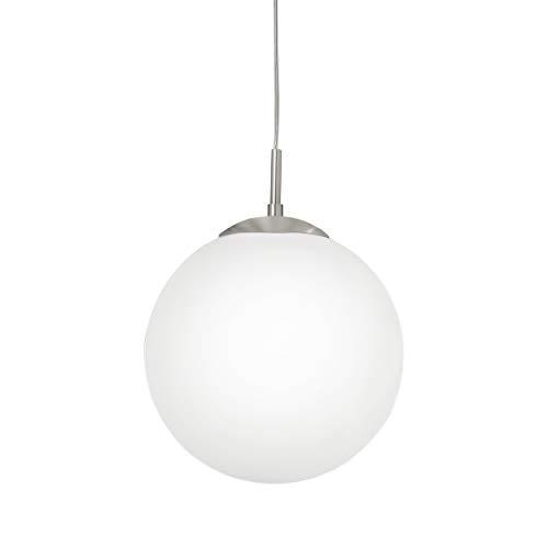 Eglo Rondo - Lampada a sospensione, Supporto flessibile E27, Nickel opaco, Bianco, Ø 30 cm