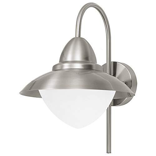 EGLO Sidney - Lampada a Parete per Esterni, in Acciaio Inox e Vetro Bianco Satinato, E27 Max. 60 W (lampadine Non Incluse) IP 44, Altezza 37,5 cm, Ø 27.5 cm, sporgenza 32,5 cm