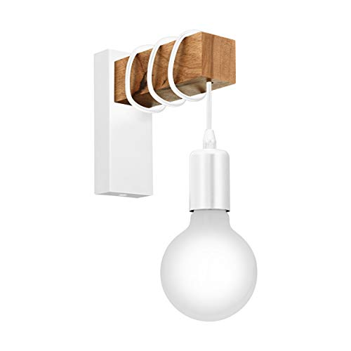 EGLO Townshend illuminazione da parete Adatto per uso interno Bianco, Legno E27, 18 x 19 x 6,5 cm