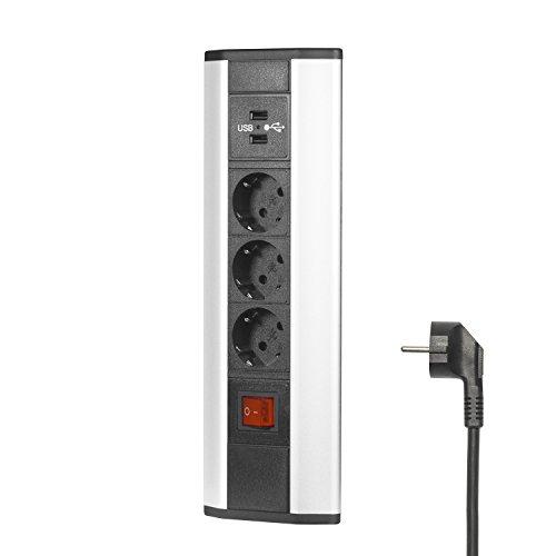 Elbe Multipresa angolare da Scrivania con interruttore,Tripla presa ad angolo con USB, Presa angolare cucina con Spina Tedesca. Presa multipla angolare per ufficio, cucina e piani di lavoro EL4603KU