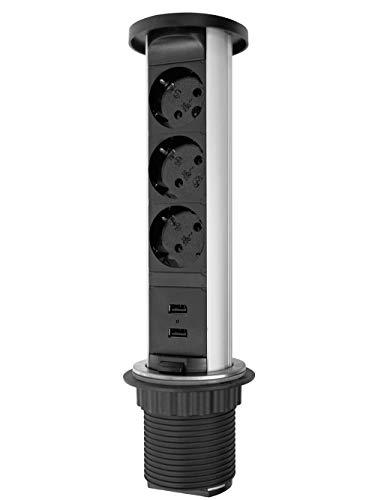 Elbe Presa a scomparsa 3 Prese con 2 USB, Copertura impermeabile, Presa tedesca, Diametro 60mm, Presa da scrivania con Protezione per bambini, Presa da incasso per cucina, Adatto per Ufficio