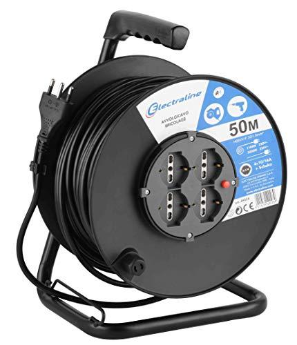 Electraline 49028 Prolunga elettrica con avvolgicavo, 50 m, 4 prese polivalenti (schuko + 10/16A) spina grande 16A, max 3200W, con protezione, nero