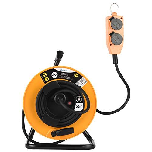 Electraline Pro-Line 208670 - Avvolgicavo elettrico professionale, 3G2,5 mm, 25 m, con blocco a 4 prese mobile, piastra fissa, colore: Giallo/Nero
