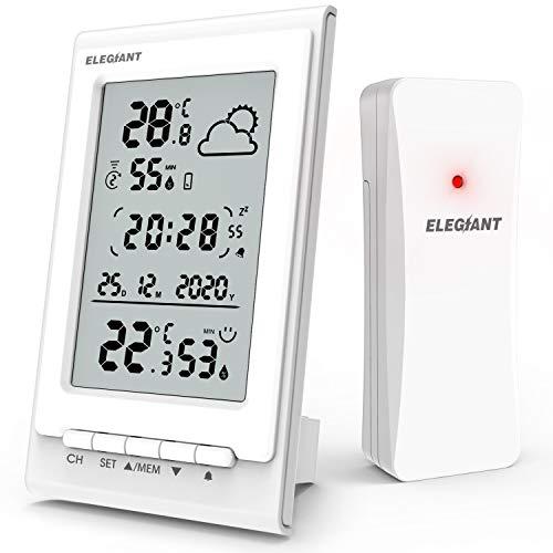 ELEGIANT Stazione Meteo, Igrometro Digitale Termometro Ambiente Temperatura e umidità Interno Esterno con Sensore Previsioni del Tempo Data Ora per Casa Ufficio Stanza dei Fiori Camera Sminterrato