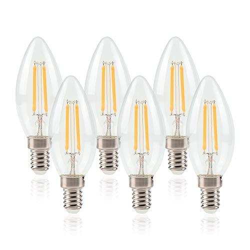 ELINKUME 6 Unità Lampadine LED Candela E14 6W Luce Calda 3200K,Pari a Lampadine Incandescenza da 60W,4 Filamento, Lampadine a LED