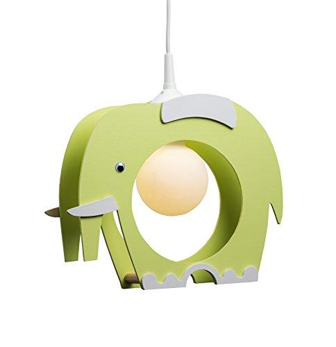 Elobra Lampada da soffitto, lampadario a sospensione per bambini, motivo: elefante, in legno, colore: verde chiaro, legno;betulla