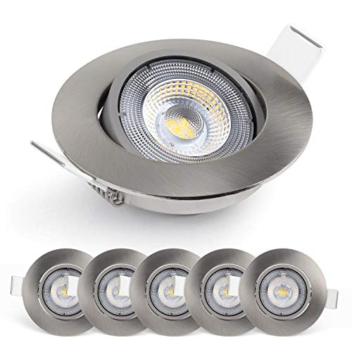 Emos Exclusive Faretti LED da Incasso - Set di 6 Faretti a Luce Led Orientabili a 50° da 5W/450 Lumen Rotondi – Faretti da Incasso a Luce del giorno fredda 6.500k Ultra Piatti in Alpacca [Classe A+]