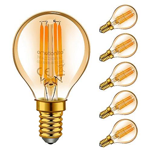Emotionlite LED E14 Lampadine,4W,Bagliore ambra,2200K,P45 /G45,6 pezzi