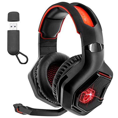EMPIRE GAMING - WarCry P-W1 Cuffie Gamer Senza fili con Microfono -Wireless 2,4 GHz -Suono Surround Stereo -LED Rosso -Compatibile con PC/PS4/PS5/Xbox/Nintendo Switch/Mac