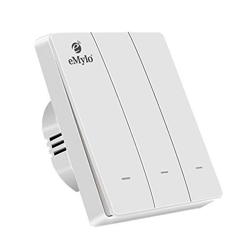 eMylo Zigbee Interruttore della luce a parete intelligente Interruttore a bilanciere Funziona con Zigbee Central Hub,Compatibile con Alexa / Google Home Filo neutro non richiesto (3 pulsante-Bianco)