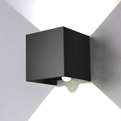 ENCOFT 12W Applique da Parete Esterno Interno con Sensore di Movimento Crepuscolare LED, Lampada da Parete a Luce Bianco Freddo 6000K Angolo Su e Giù Regolabile, IP67 Impermeabile Nero