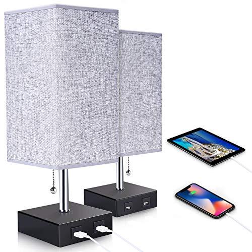 ENCOFT 2 pacchi Lampada da tavolo lampada da comodino con doppia porta di ricarica USB e una presa di corrente lampada USB LED bianco caldo moderna USB perfetta per camera da letto