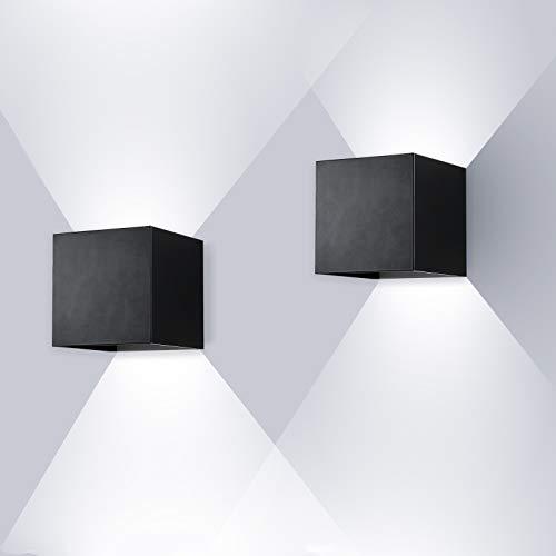ENCOFT 2 Pezzi 12W Applique da Esterno per Interno Esterno COB LED Moderno, Applique da Parete in Alluminio IP67 Impermeabile, Lampada da Parete Luce Bianco Freddo 6000K Angolo Regolabile, Nero