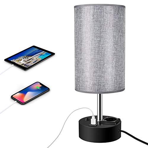 ENCOFT Lampada da comodino USB moderna lampada da tavolo USB rotonda con paralume in tessuto grigio lampada da scrivania con 2 utili porte di ricarica USB