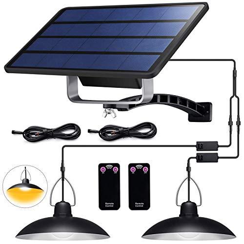 ENCOFT Lampadario Solare Esterno con Telecomando Lampada a Sospensione 32 LED Impermeabile IP65 Illuminazione Solare Separabile 3M per Giardino Balcone Campeggio, 2 Luce Bianco Caldo 3500K