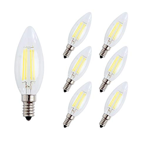 Engeya - Lampadina a LED a filamento E14, 4 W, luce bianca fredda, 6000 K, AC 220-240 V, 400 lumen, sostituisce lampadine alogene da 40 W, non dimmerabili, confezione da 6 pezzi