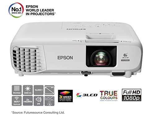 "Epson EB-U05 Videoproiettore Full HD 3LCD, 3.400 Lumen, Contrasto 15.000:1, WI-FI opzionale, Lampada UHE di Lunga Durata, Immagini fino a 300"", Bianco"