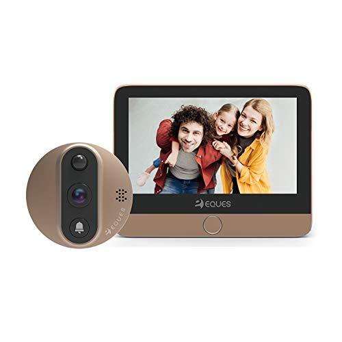 """Eques R27 Spioncino Porta con Display 4,3"""" con Telecamera 1.3 Megapixel Wi-Fi Colore Bronzo"""