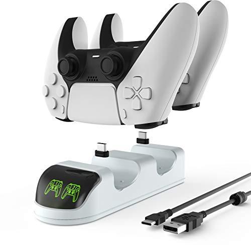 ETPARK Base di Ricarica per Controller, Ricarica Controller PS5 con Indicatore LED, PS5 Dual Controller Caricatore con 2 Porte di Ricarica di Tipo C Rimovibili, Bianco