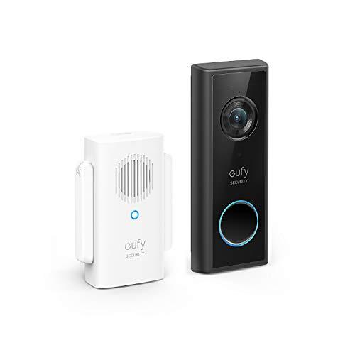 eufy Security, kit videocitofono Wi-Fi, nero, risoluzione 1080p, batteria per 120 giorni, zero costi mensili, rilevamento di persone, audio bidirezionale, citofono wireless gratuito
