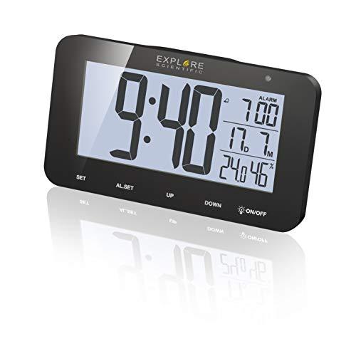 EXPLORE SCIENTIFIC Orologio radiocontrollato da tavolo con display RDC1004, Allarme & Snooze, nero