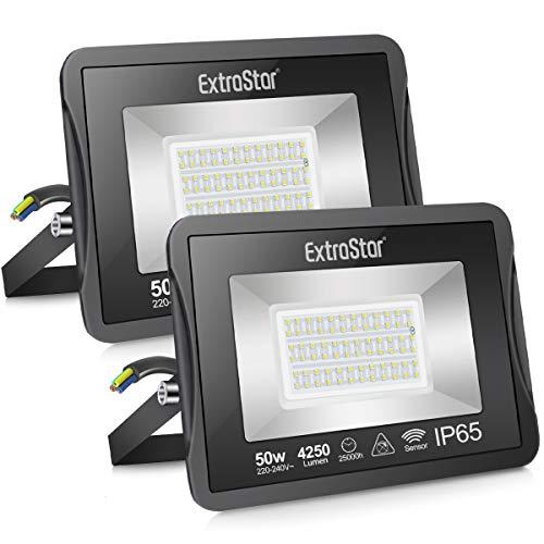 EXTRASTAR Faretto LED da Esterno con PIR Sensore di Movimento, 50W 4250 lumen 6500K, Proiettore Faretto da Esterno Impermeabile IP65 per Giardino, Corridoio, Illuminazione Interna ed Esterna,2 Pezzi