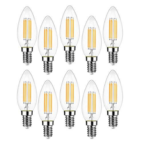 EXTRASTAR Filamento LED E14, 4W Equivalenti a 35W, 400Lm, 3000K Luce Calda,C35 Stile Vintage, Non Dimmerabile, Confezione da 10 Pezzi