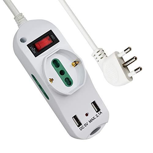 Extrastar Multipresa con 1 Polivalenti e 2 Bivalenti 10/16A,2 Porte USB (5 V, max 2,1 A),Viaggia stile,piccolo,nuovo stile,Bianco,3500 W, 250 V,Cavo 1.5 m
