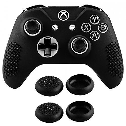 eXtremeRate Cover Skin per Xbox One S X Controller,Custodia Protettiva in Silicone con Gommini Coprilevette Analogiche Antiscivolo per Xbox One S X Joystick Model 1708(Nero)