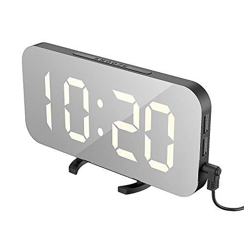 EXTSUD Sveglia Digitale con Display a Specchio Orologio Sveglia Elettronica con Luce Notturna Grande LED Schermo 12/24H Funzione Pisolino 2 Porte USB per Ricarica Smartphone