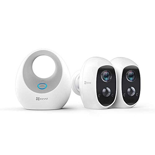 EZVIZ C3A 1080p Telecamera Wi-Fi a Batteria Senza Fili Kit da 2 con Base, Rilevamento di Movimento PIR, Audio 2 Vie, Visione Notturna, Impermeabile IP65, Compatibile con Alexa per Esterno ed Interno