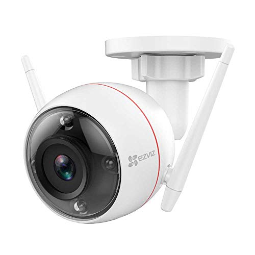 EZVIZ C3W 1080p Telecamera Ip Wi-Fi Da Esterno Con Visione Notturna A Colori Sistema D'Allarme Con Luce Stroboscopica E Sirena Compatibile Con Alexa, Bianco, Single lens
