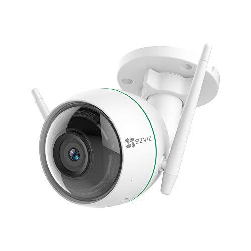 EZVIZ Telecamera di Sorveglianza Esterna 1080p, WiFi Videocamera, Night Vision, Doppia Antenna WiFi, IP66 Antipolvere e Impermeabile, EZVIZ Servizio di Cloud, Compatibile con Alexa